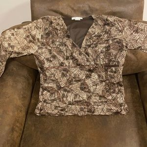 Brown long sleeve blouse. Dress Barn. L.